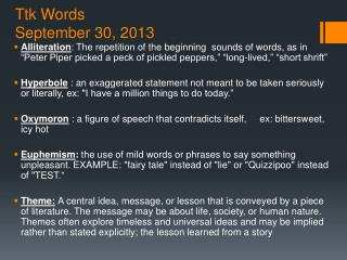 Ttk Words September 30, 2013