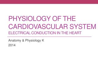 Physiology of the Cardiovascular System Electrical Conduction in the Heart