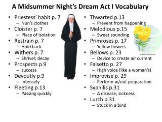 A Midsummer Night's Dream Act I Vocabulary