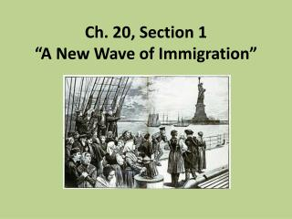 "Ch. 20, Section 1  ""A New Wave of Immigration"""