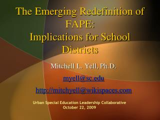 The Emerging Redefinition of FAPE:  Implications for School Districts