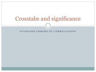 Crosstabs and significance