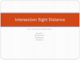 Intersection Sight Distance
