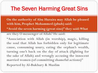 The Seven Harming Great Sins
