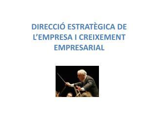 DIRECCIÓ ESTRATÈGICA DE L'EMPRESA I CREIXEMENT EMPRESARIAL