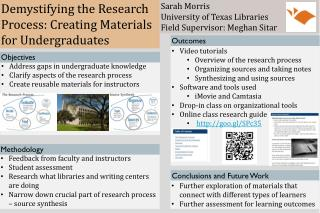 Demystifying the Research Process: Creating Materials for Undergraduates