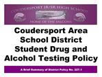 Coudersport Area School District Student Drug and Alcohol Testing Policy