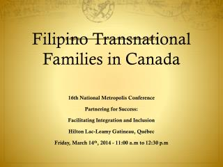 Filipino Transnational Families in Canada