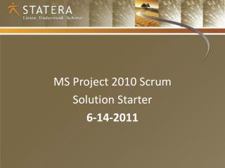 MS Project 2010 Scrum  Solution Starter 6-14-2011