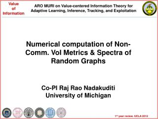 Numerical computation of Non-Comm.  VoI  Metrics & Spectra of Random Graphs