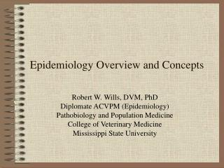 Epidemiology Overview and Concepts