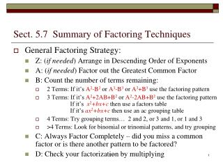 Sect. 5.7  Summary of Factoring Techniques