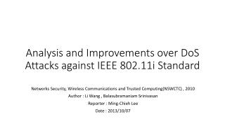 Analysis and Improvements over  DoS  Attacks against IEEE 802.11i Standard