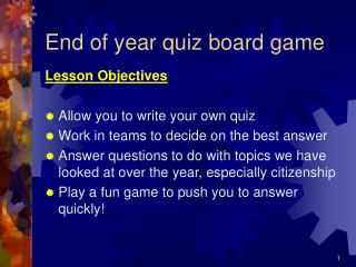End of year quiz board game