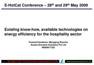Existing know-how, available technologies on energy efficiency for the hospitality sector
