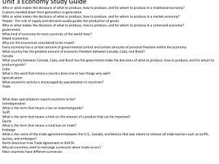 Unit 3 Economy Study Guide