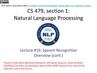 CS 479, section 1: Natural Language Processing