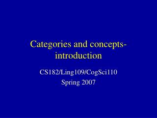 Categories and concepts- introduction