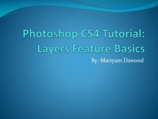 Photoshop CS4 Tutorial:  Layers Feature Basics