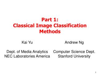 Part 1: Classical Image Classification Methods