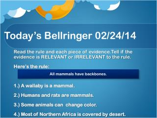 Today's  Bellringer  02/24/14