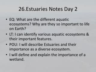 26.Estuaries Notes Day 2