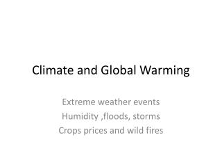 Climate and Global Warming
