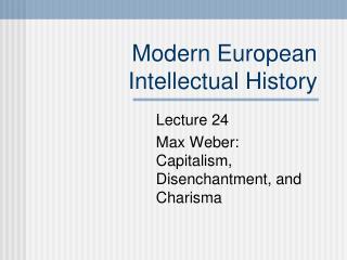 Modern European Intellectual History