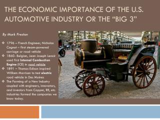 "The Economic Importance of the U.S. Automotive Industry or the ""big 3"""