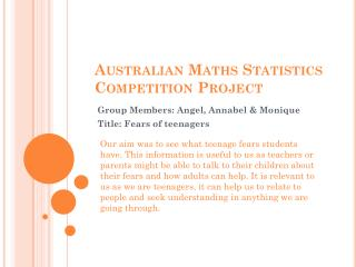 Australian Maths Statistics Competition Project