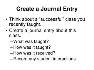 Create a Journal Entry