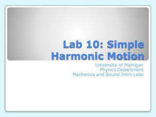 Lab 10: Simple Harmonic Motion