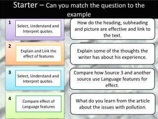 Starter –  Can you match the question to the example