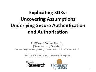 Explicating SDKs:  Uncovering Assumptions Underlying Secure Authentication and Authorization