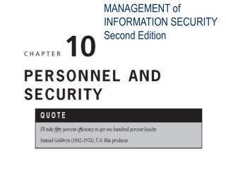 MANAGEMENT of INFORMATION SECURITY Second Edition