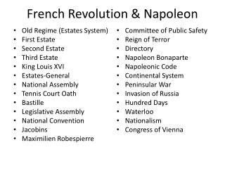 French Revolution & Napoleon