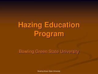 Hazing Education Program