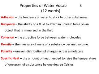 Properties of Water Vocab 3 (12 words)