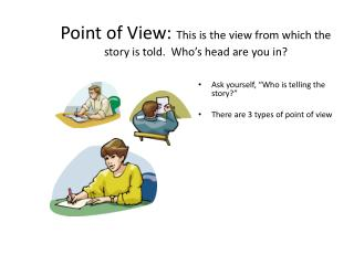 Point of View:  This is the view from which the story is told.  Who's head are you in?