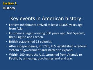 Key events in American history:
