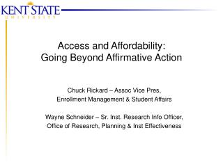 Access and Affordability: Going Beyond Affirmative Action