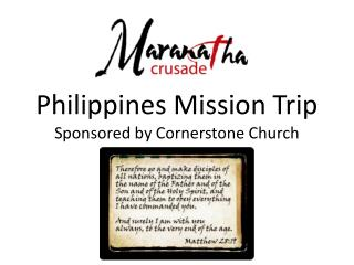 Philippines Mission Trip Sponsored by Cornerstone Church