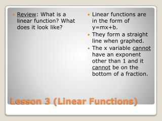 Lesson 3 (Linear Functions)