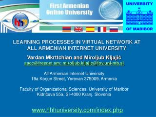 LEARNING PROCESSES IN VIRTUAL NETWORK AT ALL ARMENIAN INTERNET UNIVERSITY