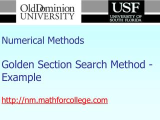 Numerical Methods Golden Section Search Method - Example nm.mathforcollege