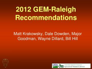 2012 GEM-Raleigh Recommendations