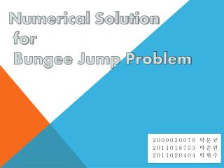 Numerical Solution   for   Bungee Jump Problem
