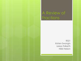 A Review of Fractions