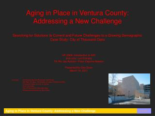 Aging in Place in Ventura County: Addressing a New Challenge