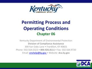 Permitting Process and  Operating Conditions Chapter 06